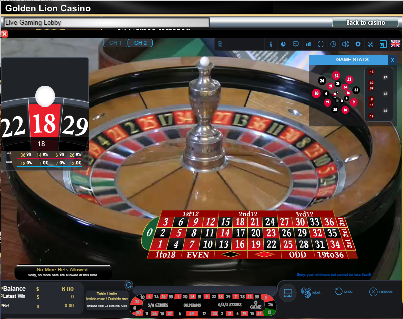 Golden Lion Live Dealer Roulette Table