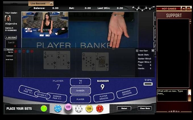 Live Online Baccarat Table