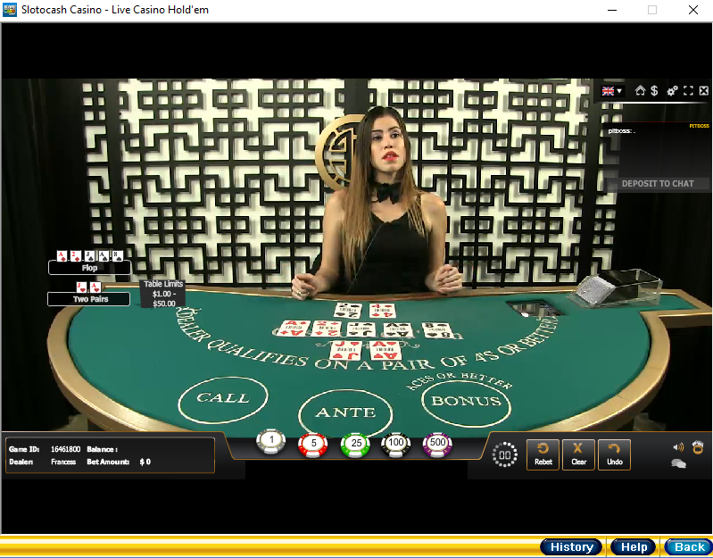 Live Casino Holdem Table